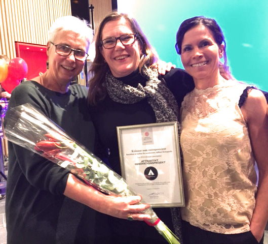 Gabriele Griffin, Anneli Häyrén and Sophia Renemar at the award ceremony.